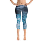 Blue Waves Capri Leggings