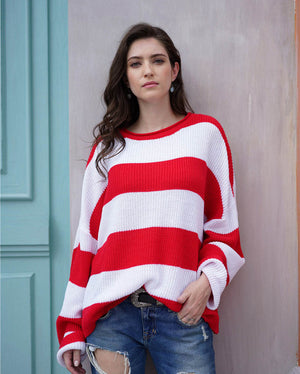 Striped Pullover Sweater - Loose Fit