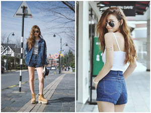 High Waist Cuffed Denim Jean Shorts