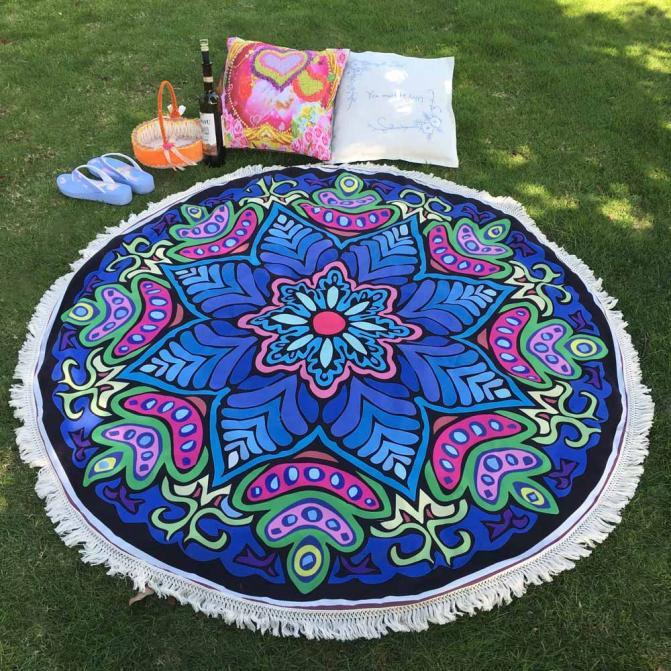 Hippie Mandala Round Tapestry Beach Throw Blanket