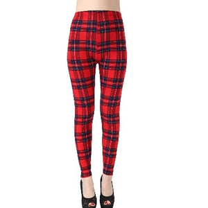 Classic Red Plaid Fashion Print Leggings