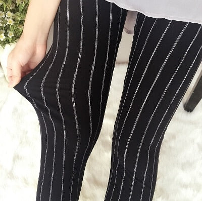 Black Pinstripe Fashion Print Leggings