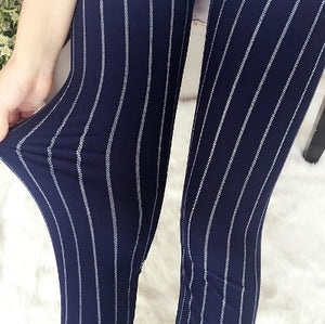 Navy Pinstripe Fashion Print Leggings