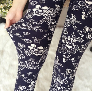 Black Floral Fashion Print Leggings