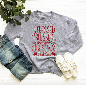 Stressed Blessed Christmas Obsessed Sweatshirt