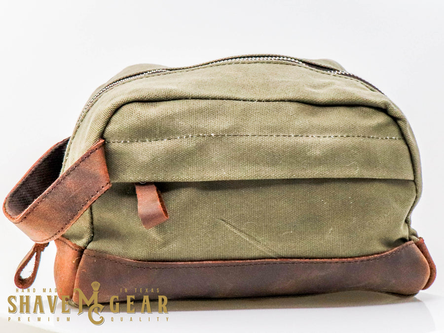 hand made waxed canvas dopp bag