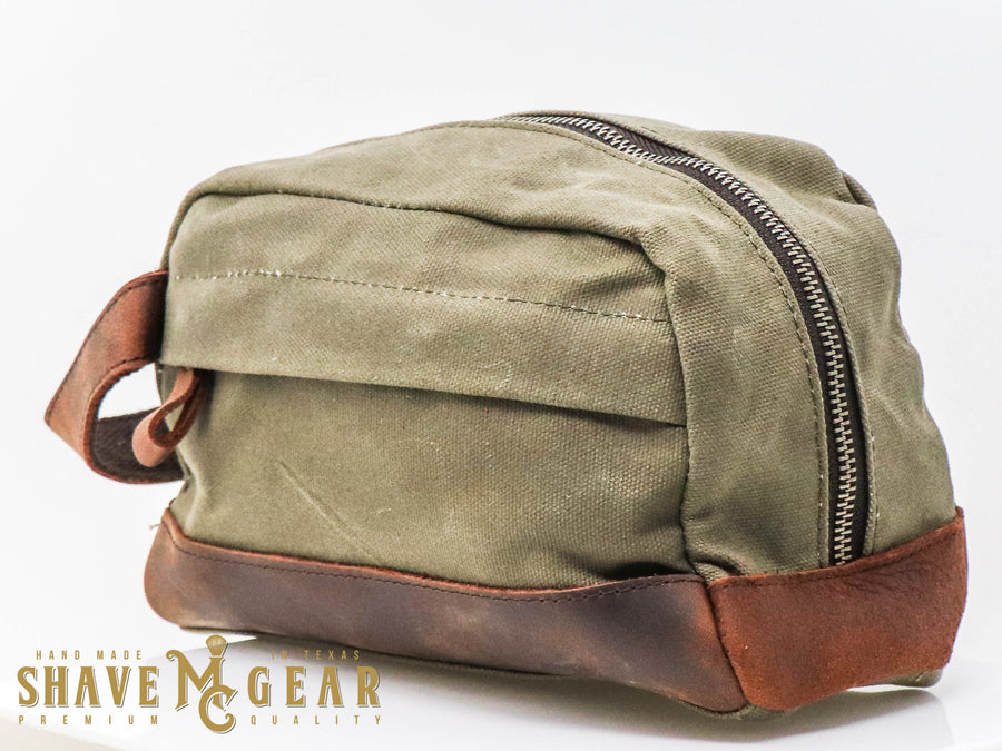 hand made waxed canvas dopp bag in green