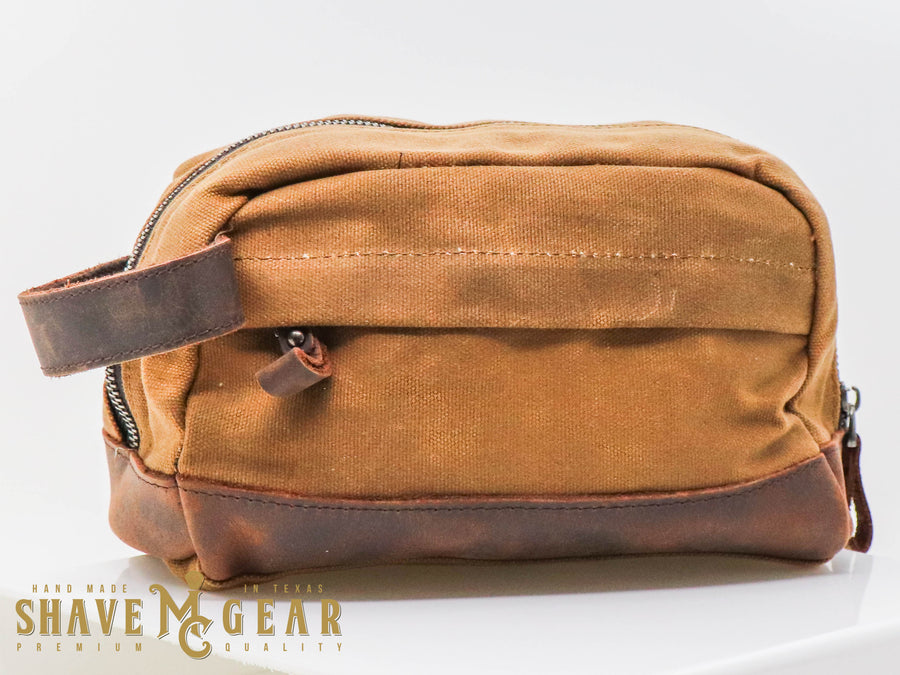 khaki hand made waxed canvas dopp bag