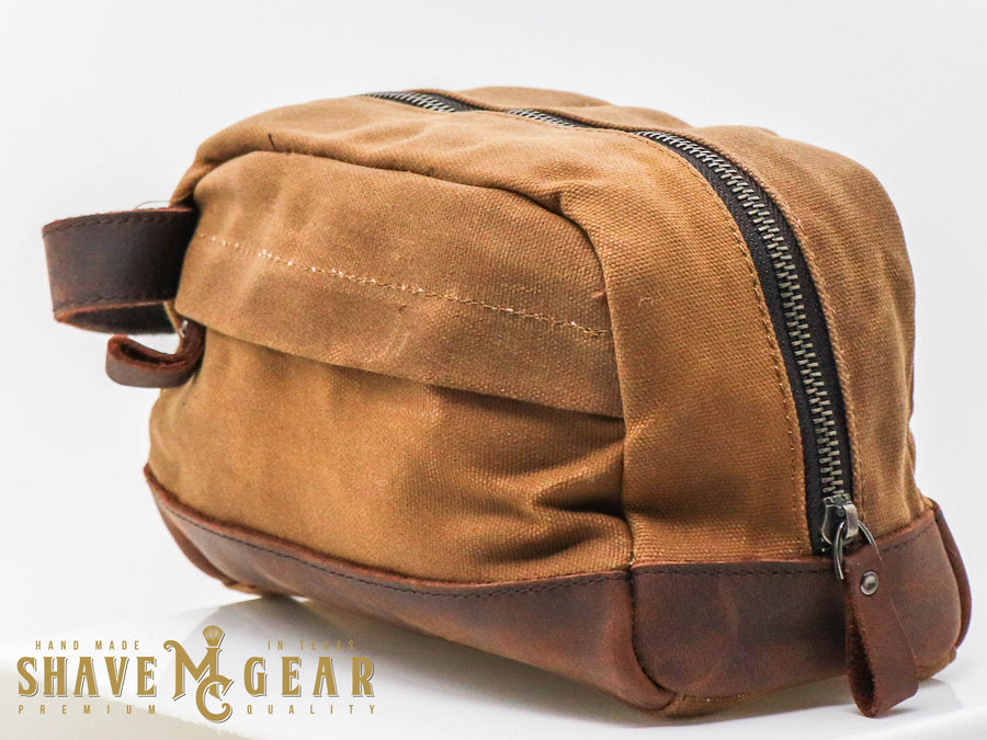 khaki hand made waxed canvas dopp bag side view