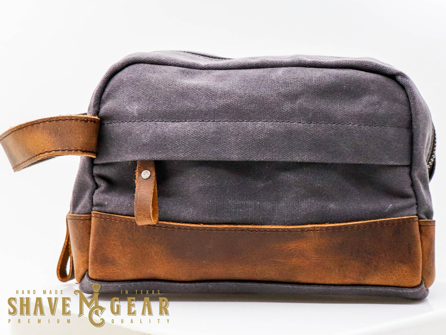 gray hand made waxed canvas dopp bag