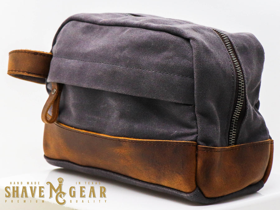 gray hand made waxed canvas dopp bag side view
