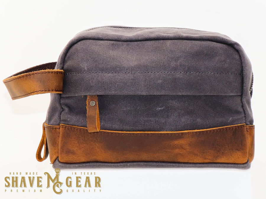 gray hand made waxed canvas dopp bag front view
