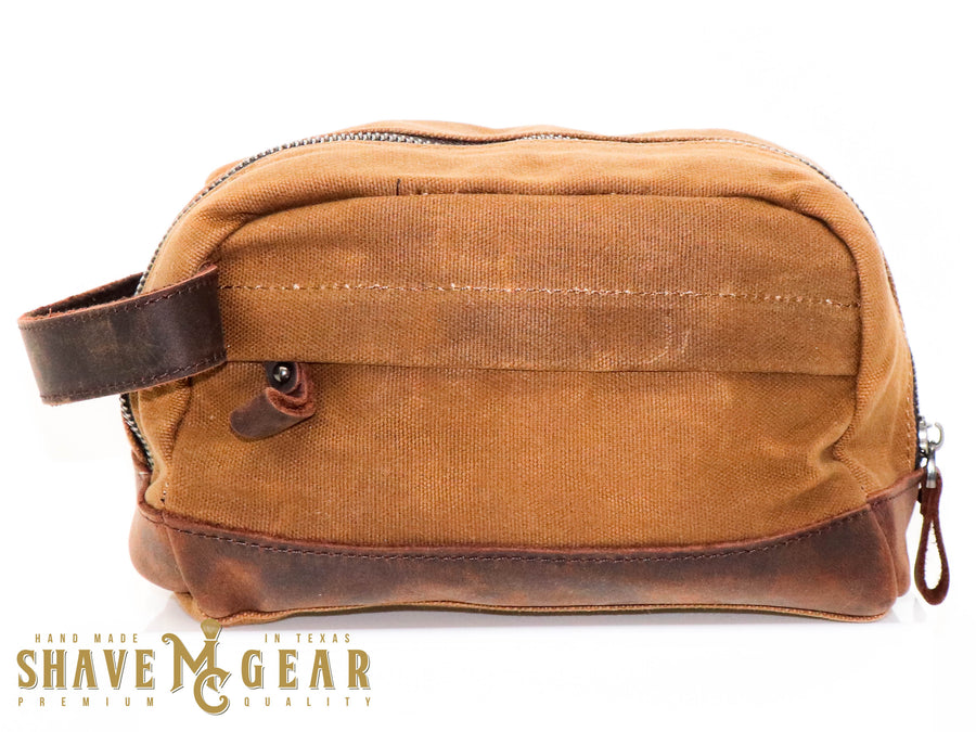 khaki hand made waxed canvas dopp bag from mc shave gear