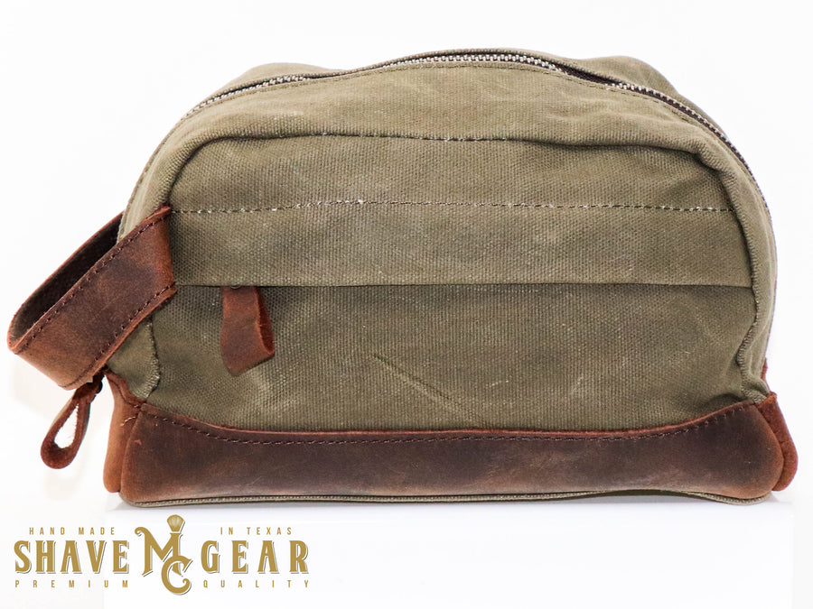 green hand made waxed canvas dopp bag