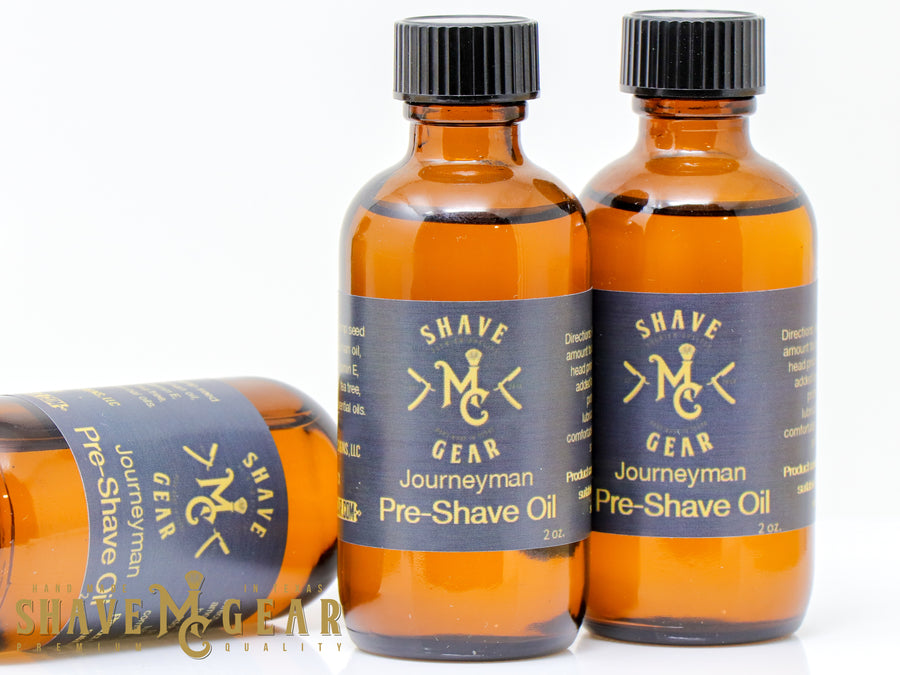 pre shave oil in woodsy journeyman scent