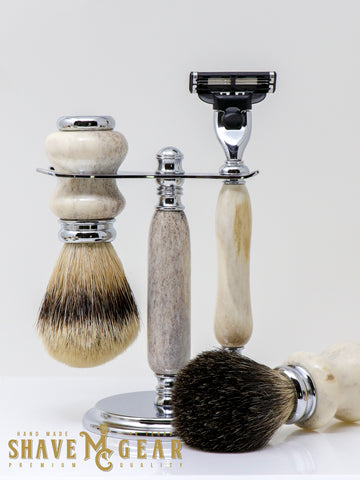 Antler Razor Set with Badger Shave Brush