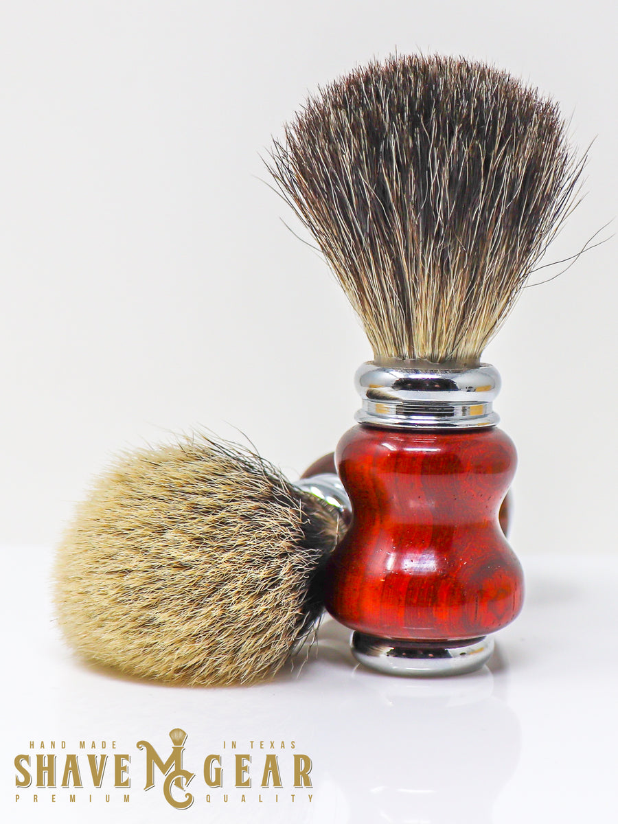 hand made silver tip badger brush in padauk wood