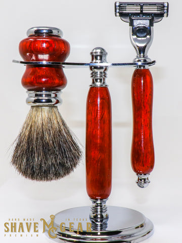 hand made razor set with badger brush in padauk wood