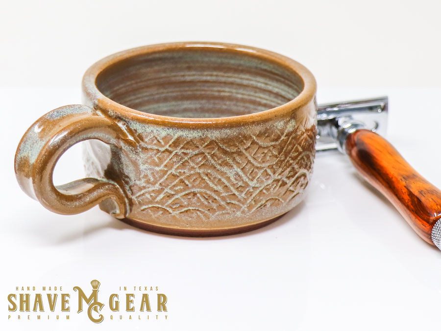 brown hand made ceramic shave mug with safety razor