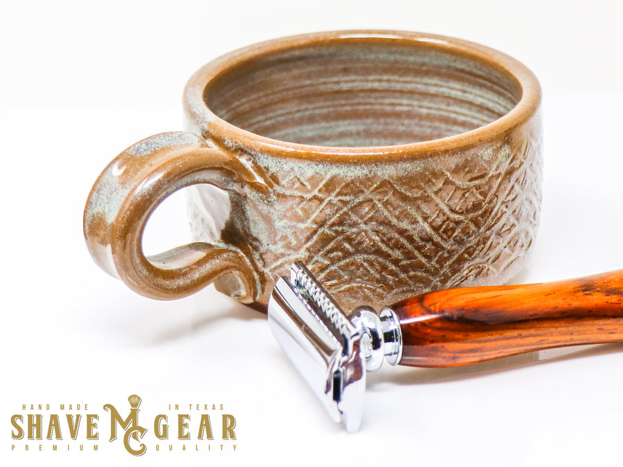 hand made ceramic shave mug with safety razor