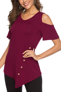 Red Round Neck Cold Shoulder Blouse - Alycia Mikay Fashion