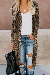 Brown Leopard Print Long Cardigan - Alycia Mikay Fashion