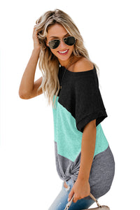 Green Color Block Twist Tee - Alycia Mikay Fashion