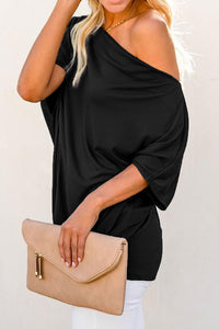 Off-The-Shoulder Slash Neck Casual Loose Fitting Top - Alycia Mikay Fashion