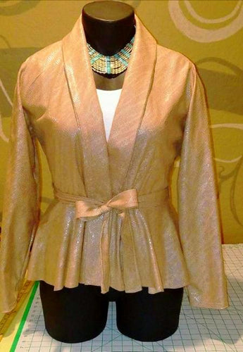 Belted Peplum Jacket - Alycia Mikay Fashion