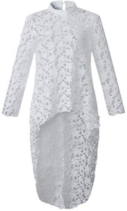 Lantern Long Sleeve Round Neck Asymmetric Lace Tunic - Alycia Mikay Fashion