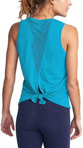 Mesh Exercise Tie-Back Tank Top - Alycia Mikay Fashion