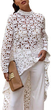 Load image into Gallery viewer, Lantern Long Sleeve Round Neck Asymmetric Lace Tunic - Alycia Mikay Fashion