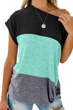 Load image into Gallery viewer, Green Color Block Twist Tee - Alycia Mikay Fashion