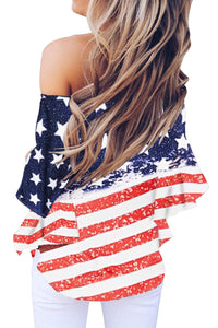 Stars and Stripes Print Off The Shoulder Blouse - Alycia Mikay Fashion
