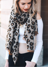 Load image into Gallery viewer, Camel Leopard Print Blanket Scarf - Alycia Mikay Fashion