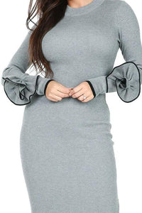 3D Flower Sleeve Sweater Dress - Alycia Mikay Fashion