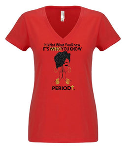 It's Who You Know V-Neck Tee - Alycia Mikay Fashion