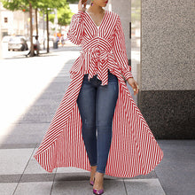 Load image into Gallery viewer, Striped Long Sleeve V-Neck Tie Waist Hi-Low Peplum Top - Alycia Mikay Fashion