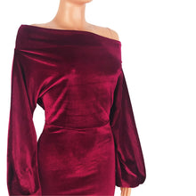 Load image into Gallery viewer, Velvet Off The Shoulder Puff Sleeve Party Dress - Alycia Mikay Fashion