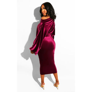 Velvet Off The Shoulder Puff Sleeve Party Dress - Alycia Mikay Fashion
