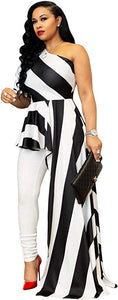 Striped One-Shoulder High Low Peplum Blouse - Alycia Mikay Fashion