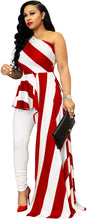 Load image into Gallery viewer, Striped One-Shoulder High Low Peplum Blouse - Alycia Mikay Fashion