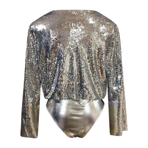 Solid Sequin V-Neck Sexy  Bodysuit - Alycia Mikay Fashion