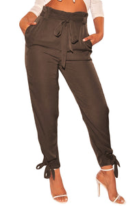 High Waist Belted Tie Up Leg Pants - Alycia Mikay Fashion
