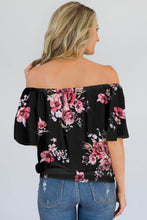 Load image into Gallery viewer, Black Floral Off The Shoulder Top - Alycia Mikay Fashion