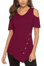 Load image into Gallery viewer, Red Round Neck Cold Shoulder Blouse - Alycia Mikay Fashion
