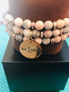 Pink Zebra Agate Natural Stone 3-Piece Set - Alycia Mikay Fashion