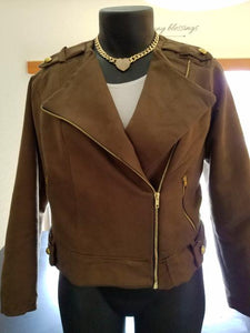 Suede Motorcycle Jacket - Alycia Mikay Fashion