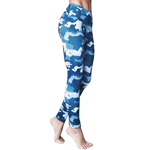 High Waist Blue Camo Leggings - Alycia Mikay Fashion