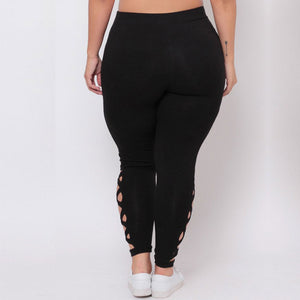 Solid Criss-Cross Hollow Out Leggings - Alycia Mikay Fashion